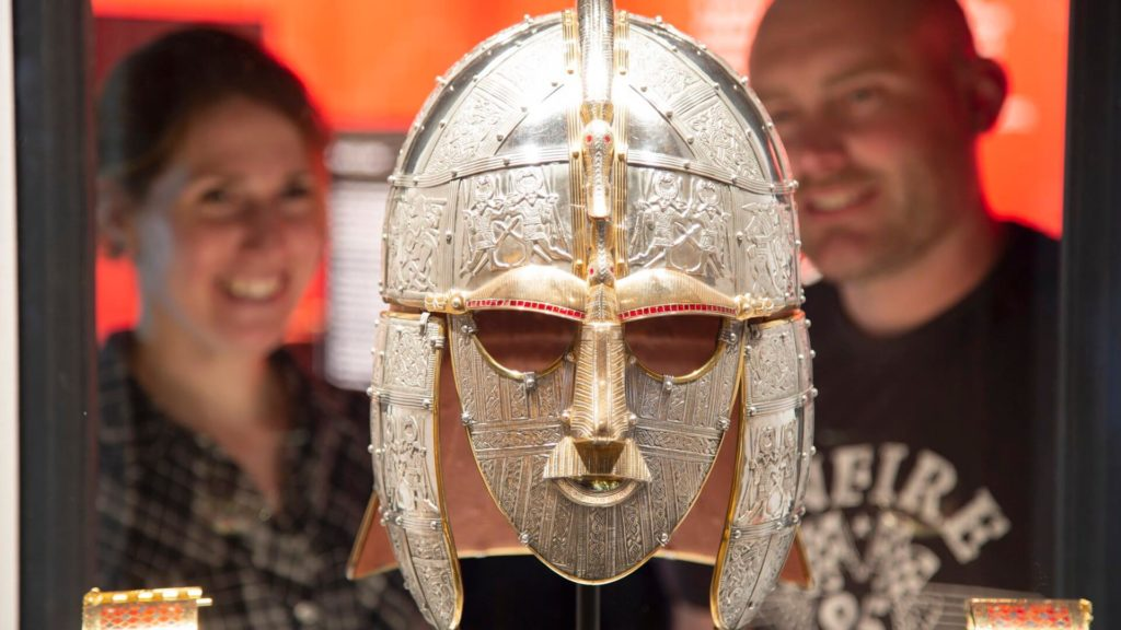 Sutton-Hoo replica Kings helmet and shoulder