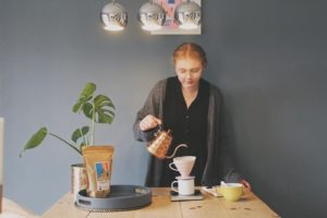 Nelly Keen pouring coffee