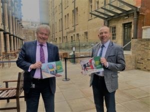 Giles Watling MP, Chair of the Great Eastern Main Line Taskforce, delivering a copy of the new Case for Investment to Chris Heaton-Harris MP, Minister of State for Transport