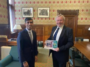 Rishi Sunak MP and Giles Watling MP with a copy of the GEML case for investment